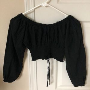 Brandy Melville Tops - Brandy Melville Black Off the Shoulder Crop Top